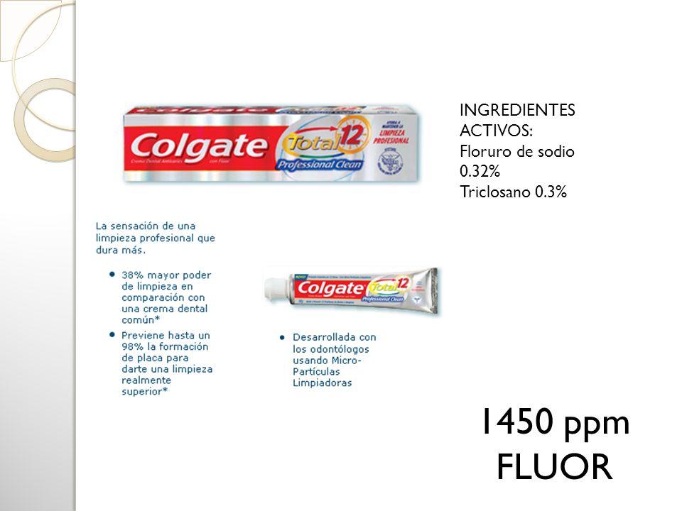 1450 ppm FLUOR INGREDIENTES ACTIVOS: Floruro de sodio 0.32%