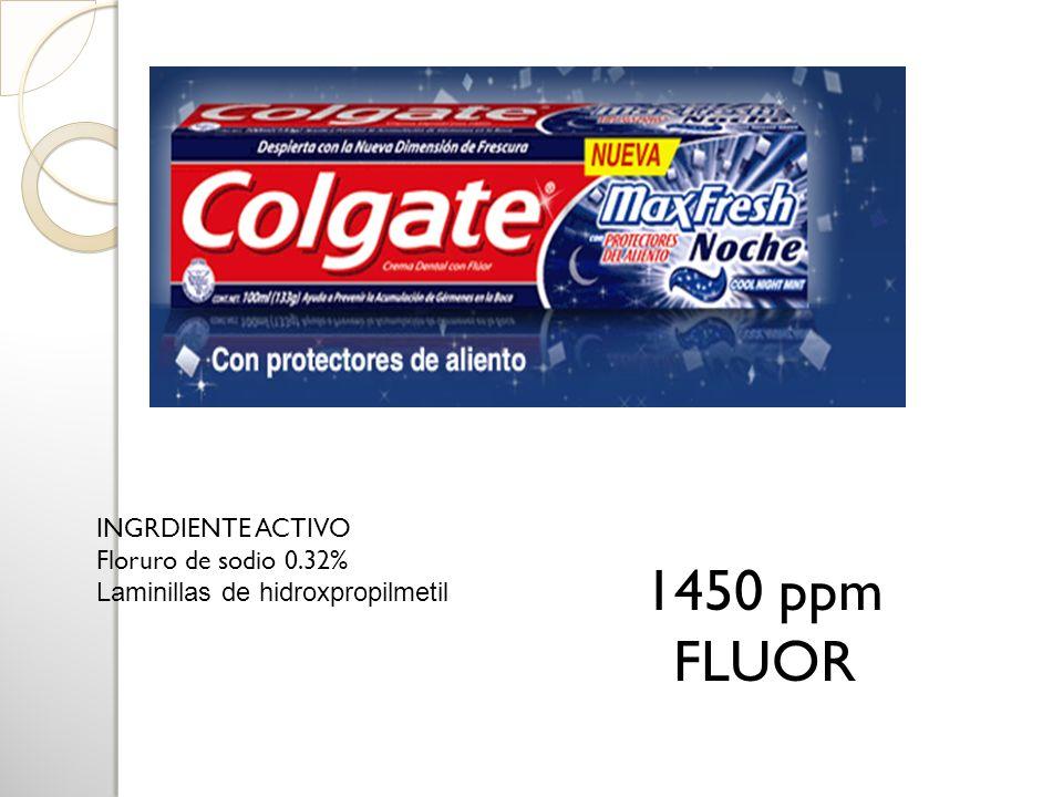 1450 ppm FLUOR INGRDIENTE ACTIVO Floruro de sodio 0.32%