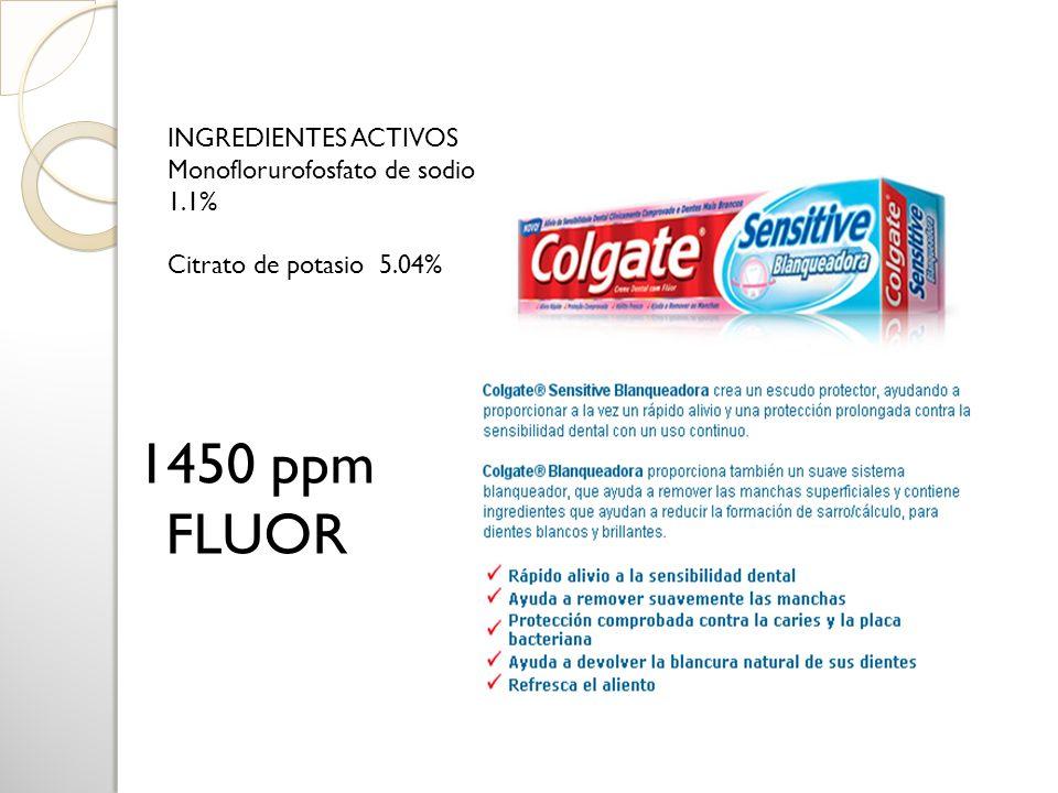 1450 ppm FLUOR INGREDIENTES ACTIVOS Monoflorurofosfato de sodio 1.1%