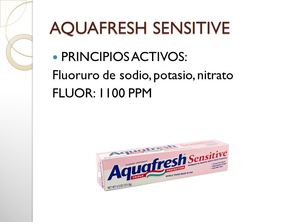 AQUAFRESH SENSITIVE PRINCIPIOS ACTIVOS: