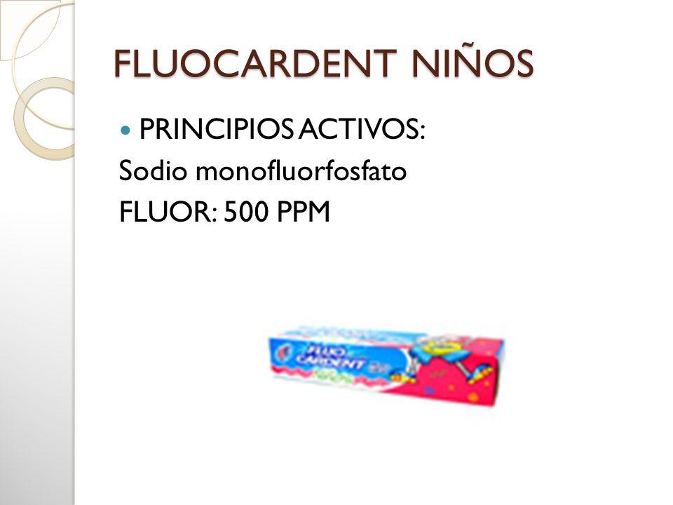 FLUOCARDENT NIÑOS PRINCIPIOS ACTIVOS: Sodio monofluorfosfato