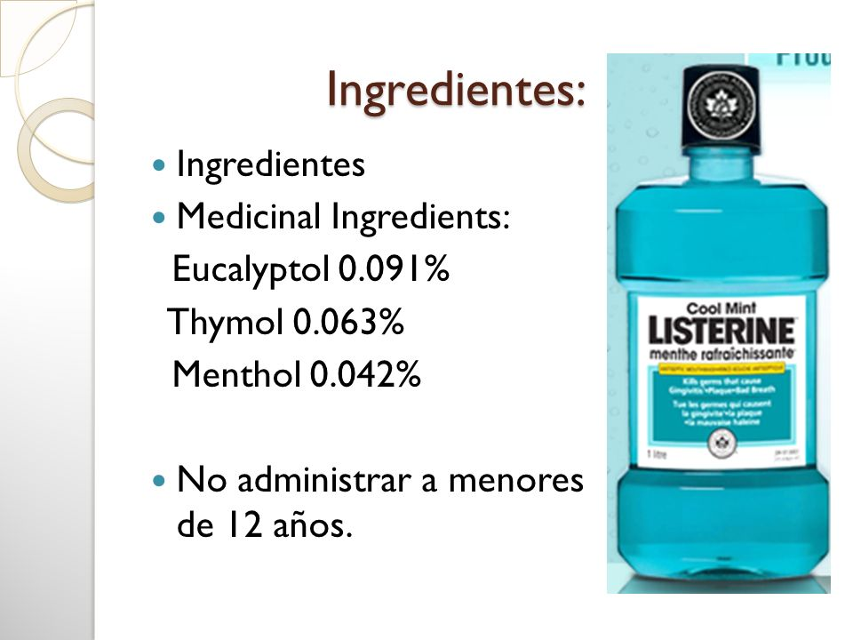 Ingredientes: Ingredientes Medicinal Ingredients: Eucalyptol 0.091%