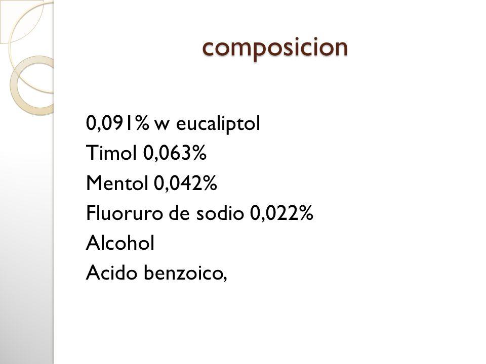 composicion0,091% w eucaliptol Timol 0,063% Mentol 0,042% Fluoruro de sodio 0,022% Alcohol Acido benzoico,