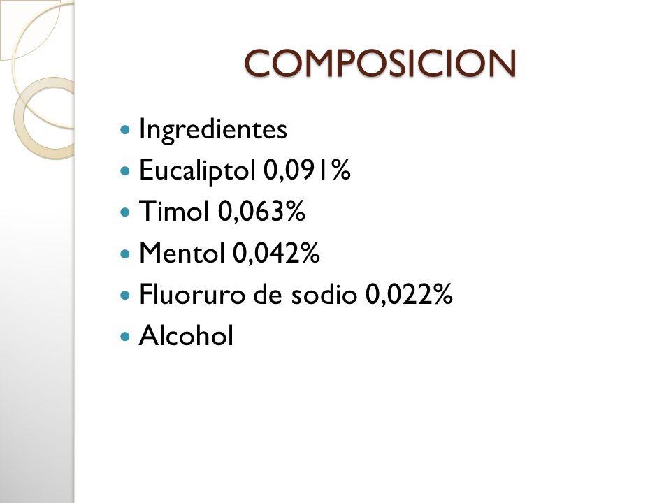 COMPOSICION Ingredientes Eucaliptol 0,091% Timol 0,063% Mentol 0,042%