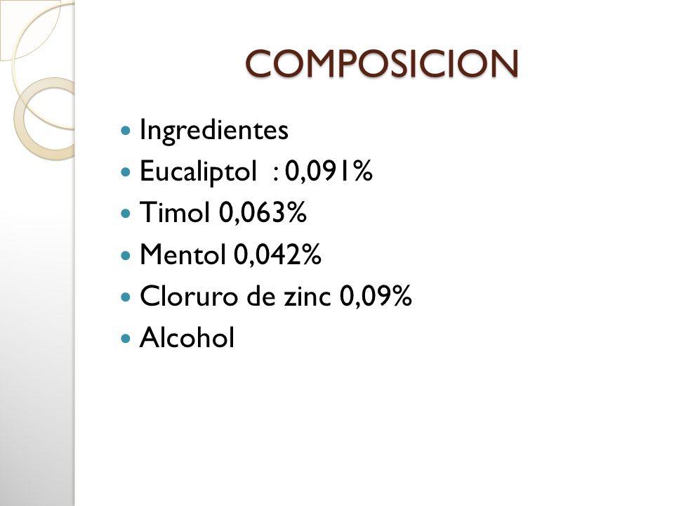 COMPOSICION Ingredientes Eucaliptol : 0,091% Timol 0,063%