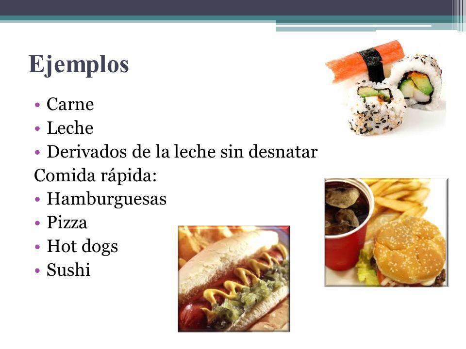 Ejemplos Carne Leche Derivados de la leche sin desnatar Comida rápida: