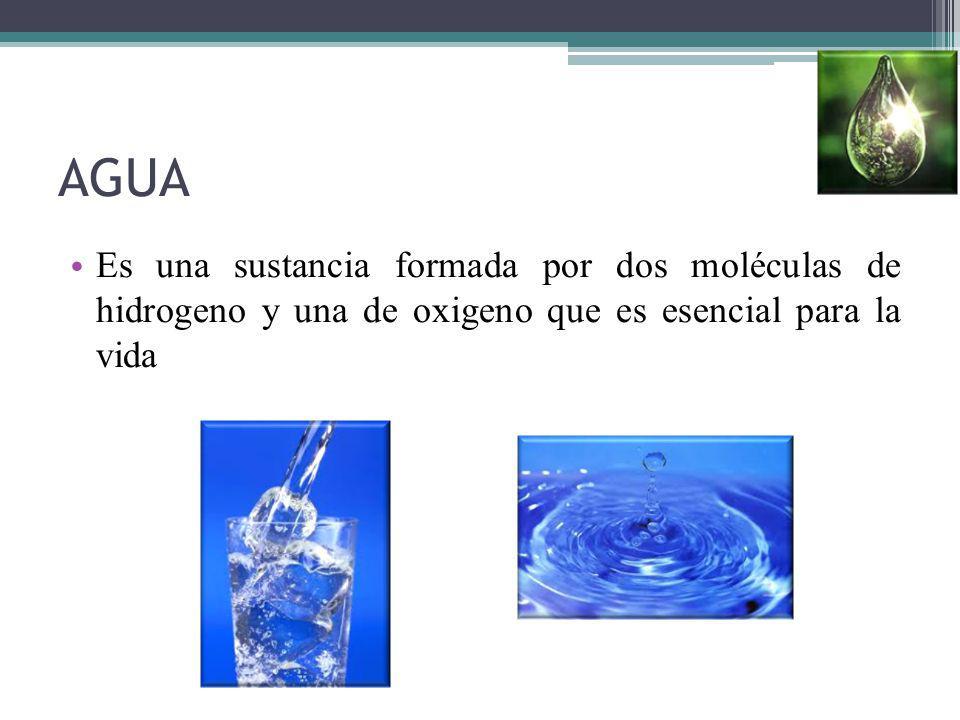 AGUA Es una sustancia formada por dos moléculas de hidrogeno y una de oxigeno que es esencial para la vida.