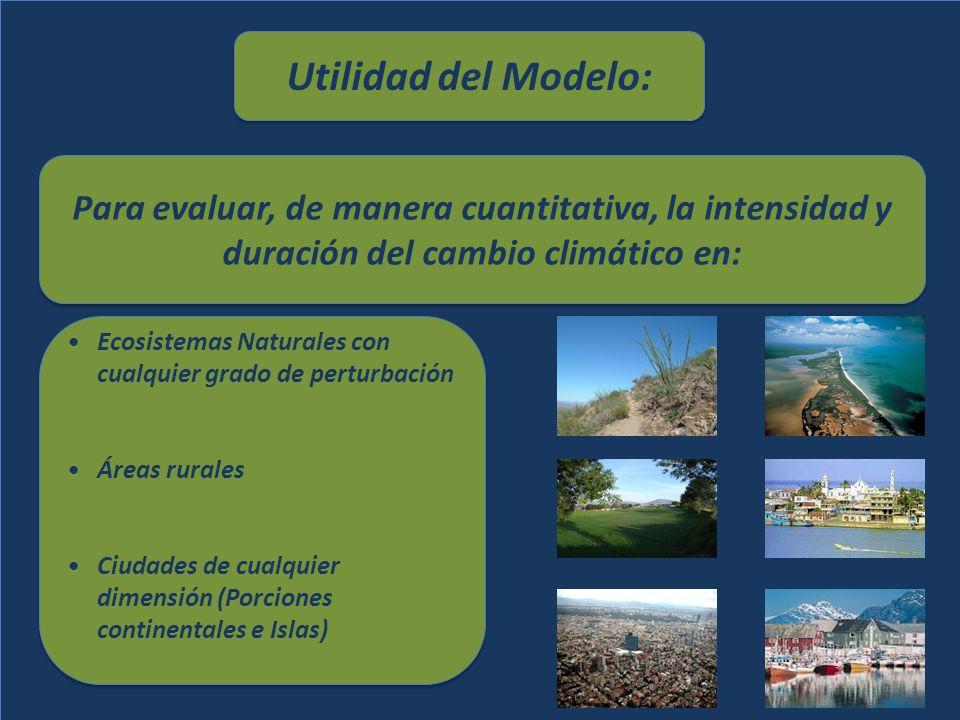 Utilidad del Modelo: Para evaluar, de manera cuantitativa, la intensidad y duración del cambio climático en:
