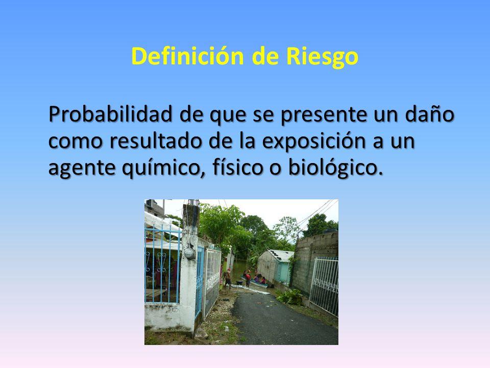 Definición de Riesgo Probabilidad de que se presente un daño como resultado de la exposición a un agente químico, físico o biológico.