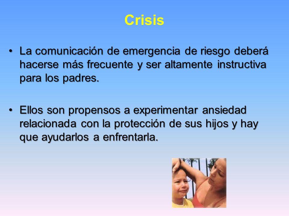 Crisis La comunicación de emergencia de riesgo deberá hacerse más frecuente y ser altamente instructiva para los padres.