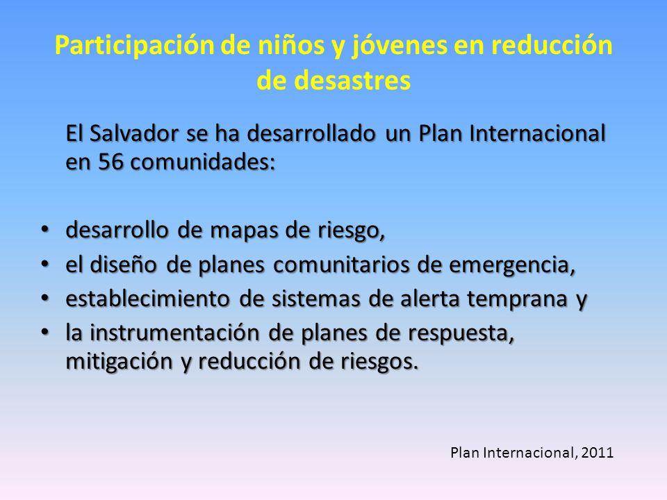 Participación de niños y jóvenes en reducción de desastres