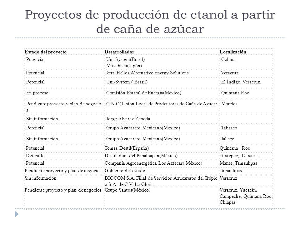 Proyectos de producción de etanol a partir de caña de azúcar