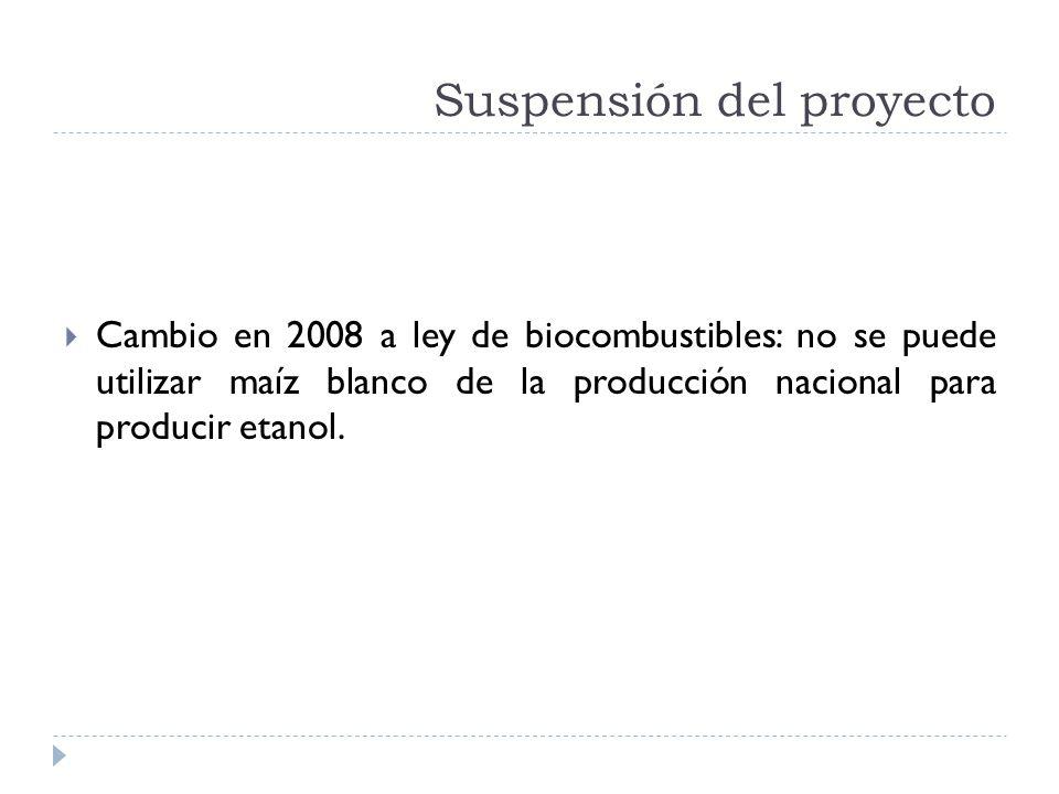Suspensión del proyecto