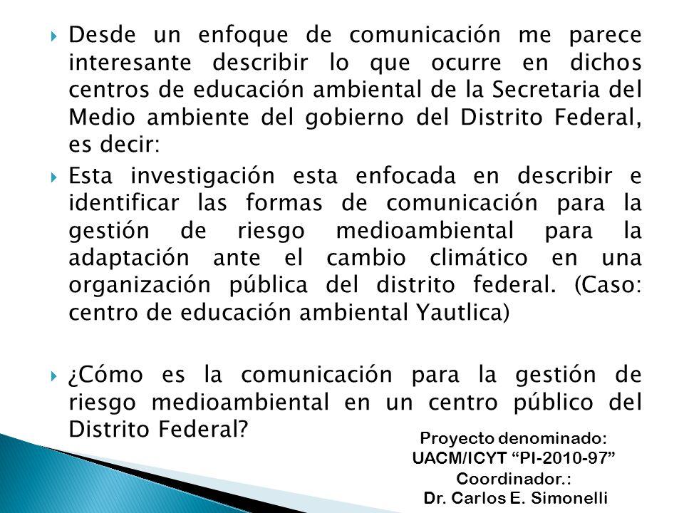 Proyecto denominado: UACM/ICYT PI-2010-97