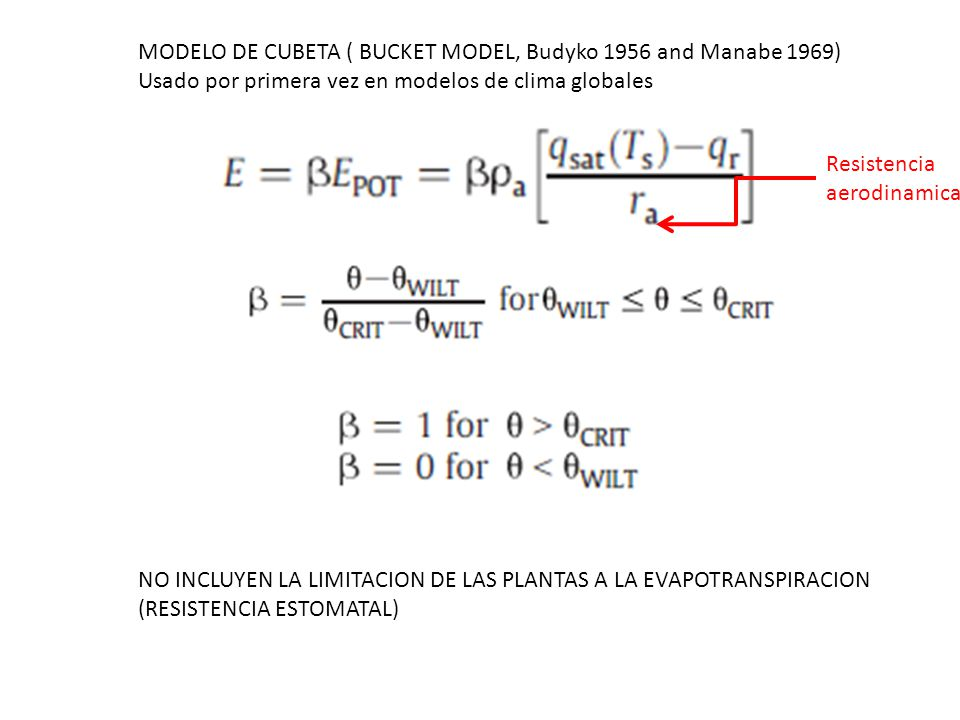 MODELO DE CUBETA ( BUCKET MODEL, Budyko 1956 and Manabe 1969)