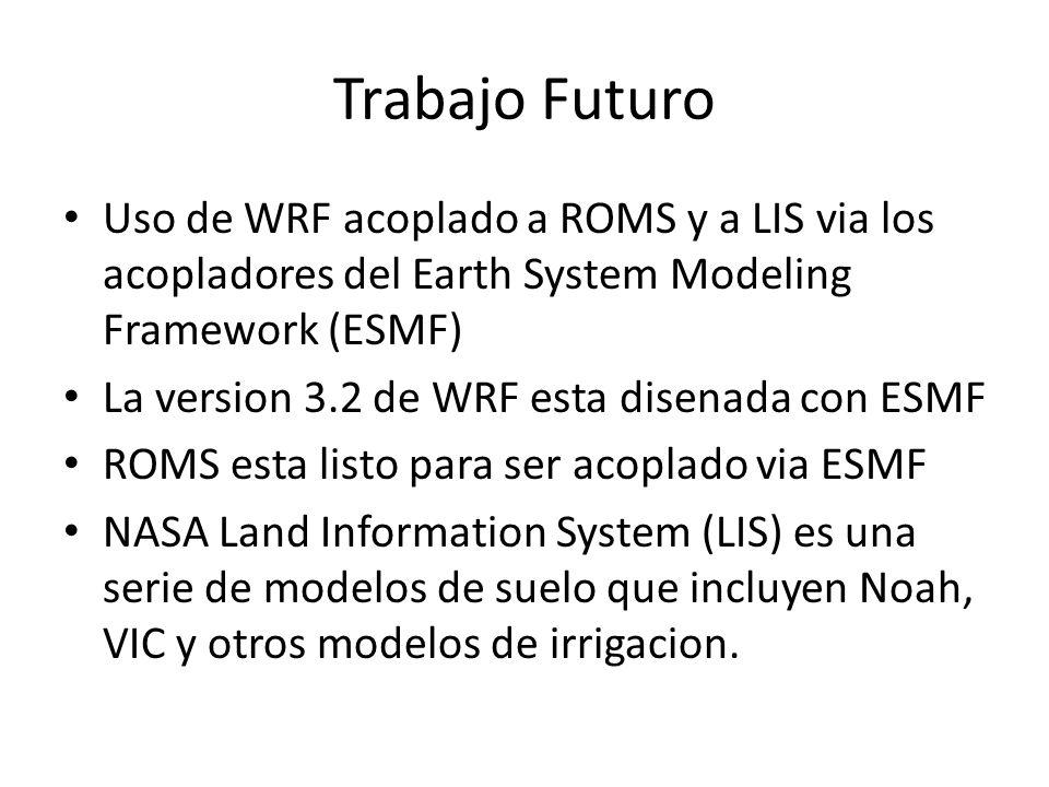 Trabajo Futuro Uso de WRF acoplado a ROMS y a LIS via los acopladores del Earth System Modeling Framework (ESMF)