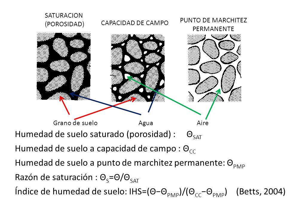 Humedad de suelo saturado (porosidad) : ΘSAT