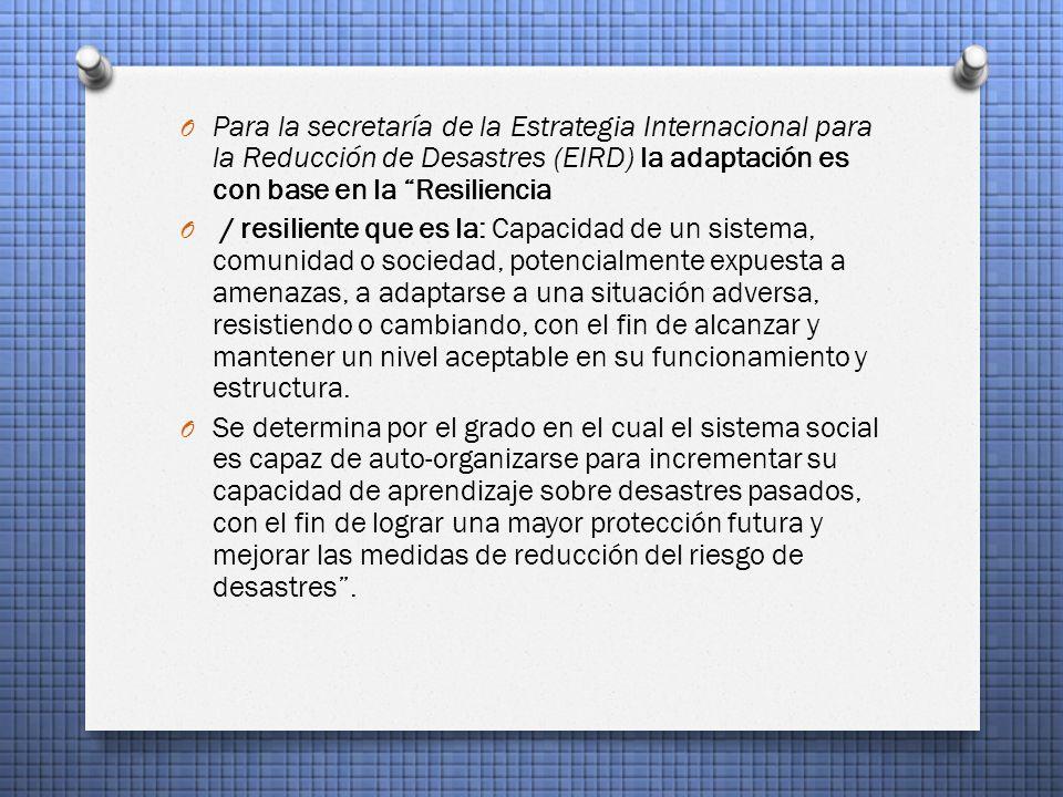 Para la secretaría de la Estrategia Internacional para la Reducción de Desastres (EIRD) la adaptación es con base en la Resiliencia