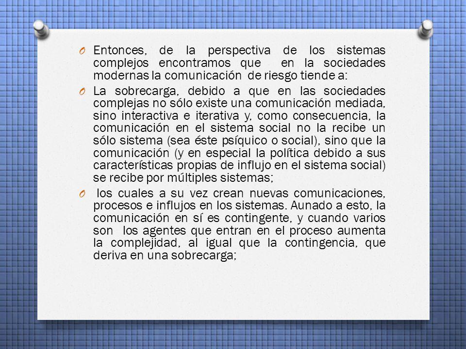 Entonces, de la perspectiva de los sistemas complejos encontramos que en la sociedades modernas la comunicación de riesgo tiende a: