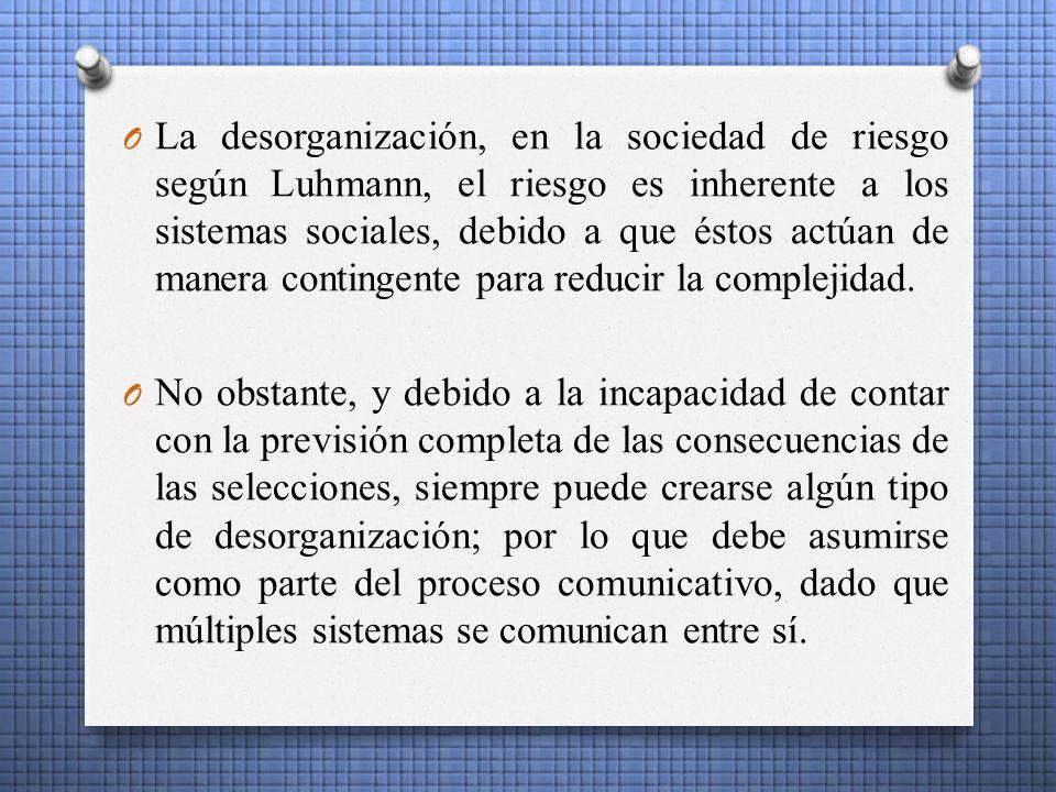 La desorganización, en la sociedad de riesgo según Luhmann, el riesgo es inherente a los sistemas sociales, debido a que éstos actúan de manera contingente para reducir la complejidad.