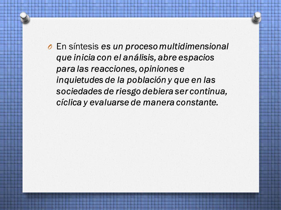 En síntesis es un proceso multidimensional que inicia con el análisis, abre espacios para las reacciones, opiniones e inquietudes de la población y que en las sociedades de riesgo debiera ser continua, cíclica y evaluarse de manera constante.