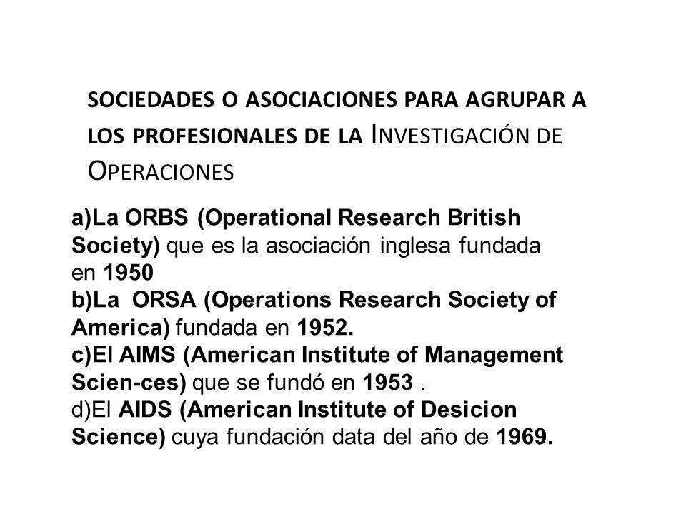sociedades o asociaciones para agrupar a los profesionales de la Investigación de Operaciones