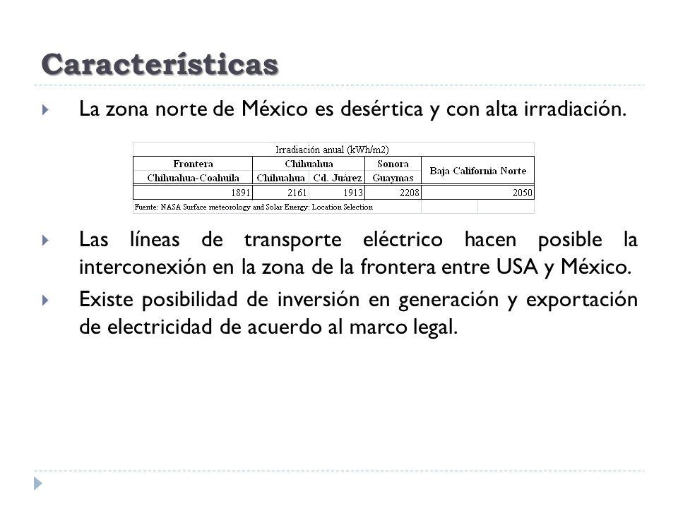 Características La zona norte de México es desértica y con alta irradiación.