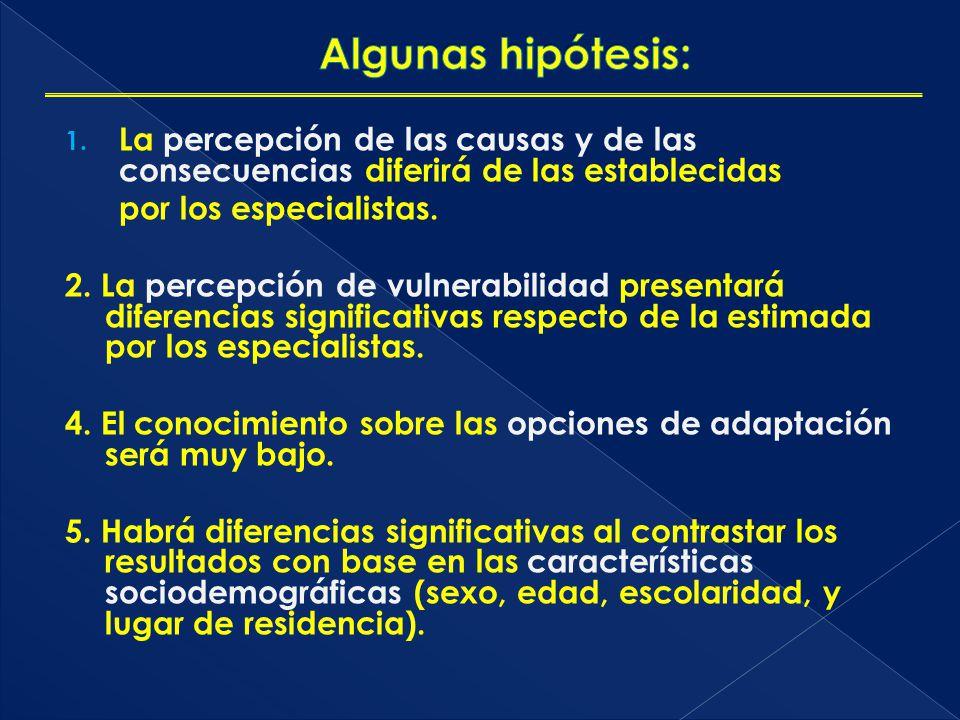 Algunas hipótesis: La percepción de las causas y de las consecuencias diferirá de las establecidas.