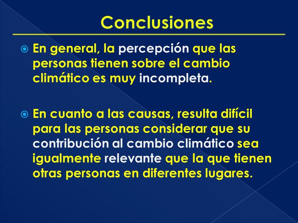Conclusiones En general, la percepción que las personas tienen sobre el cambio climático es muy incompleta.