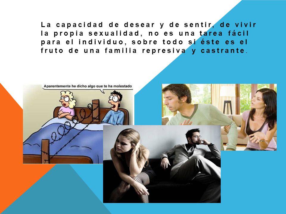La capacidad de desear y de sentir, de vivir la propia sexualidad, no es una tarea fácil para el individuo, sobre todo si éste es el fruto de una familia represiva y castrante.