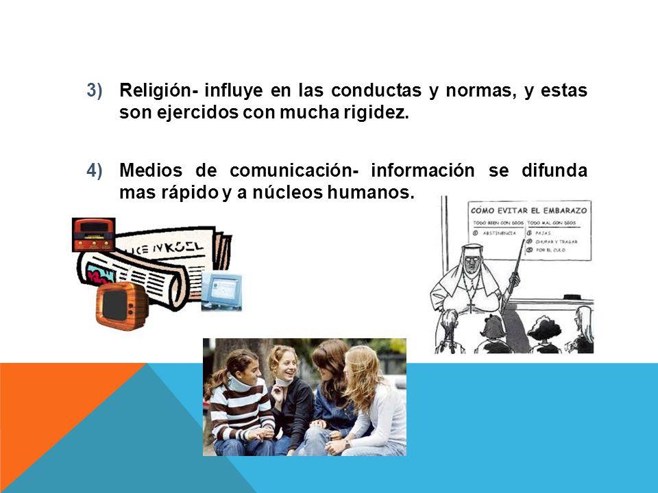 Religión- influye en las conductas y normas, y estas son ejercidos con mucha rigidez.