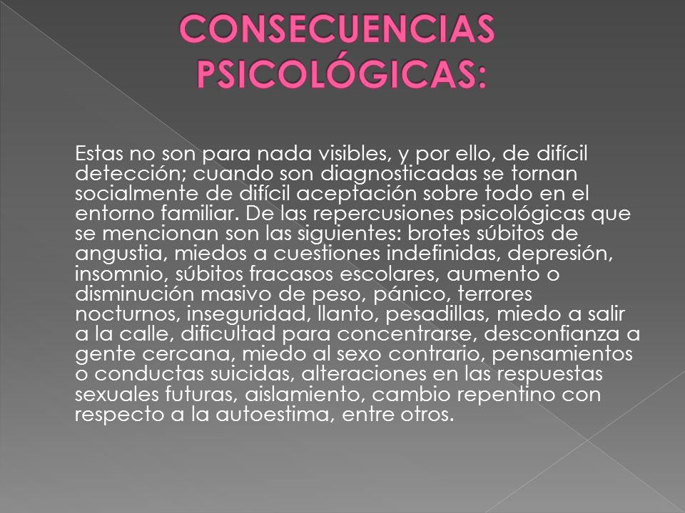 CONSECUENCIAS PSICOLÓGICAS: