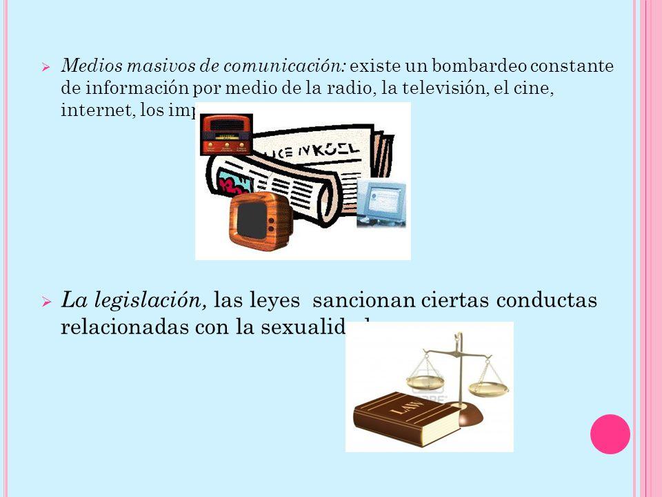 Medios masivos de comunicación: existe un bombardeo constante de información por medio de la radio, la televisión, el cine, internet, los impresos, etc