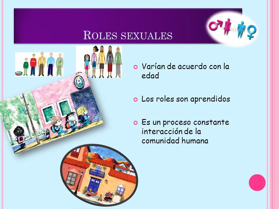Roles sexuales Varían de acuerdo con la edad Los roles son aprendidos