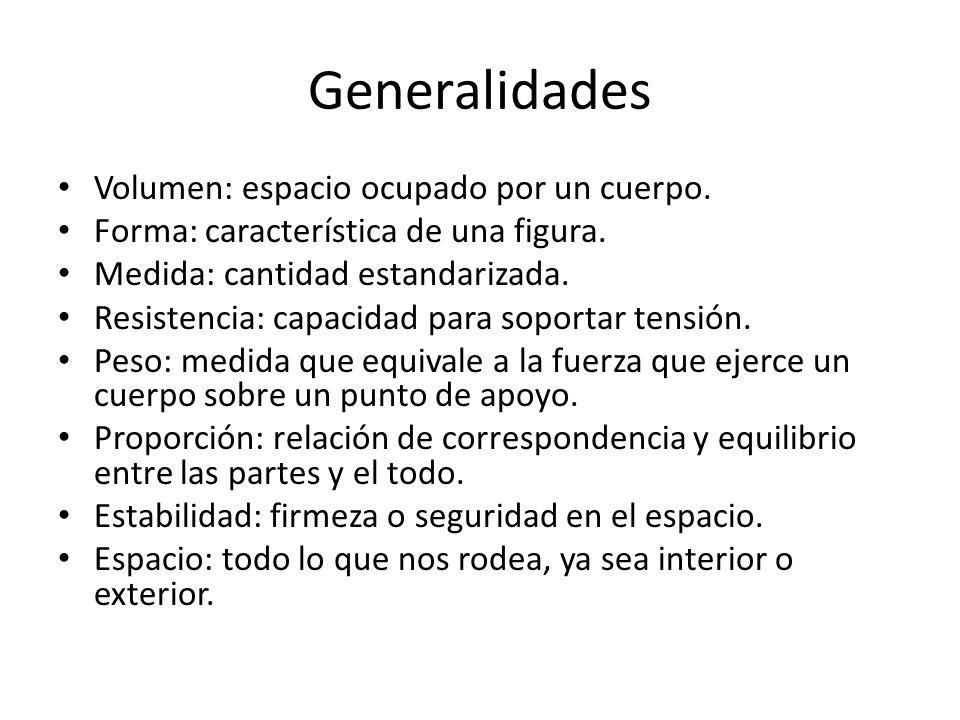 Generalidades Volumen: espacio ocupado por un cuerpo.