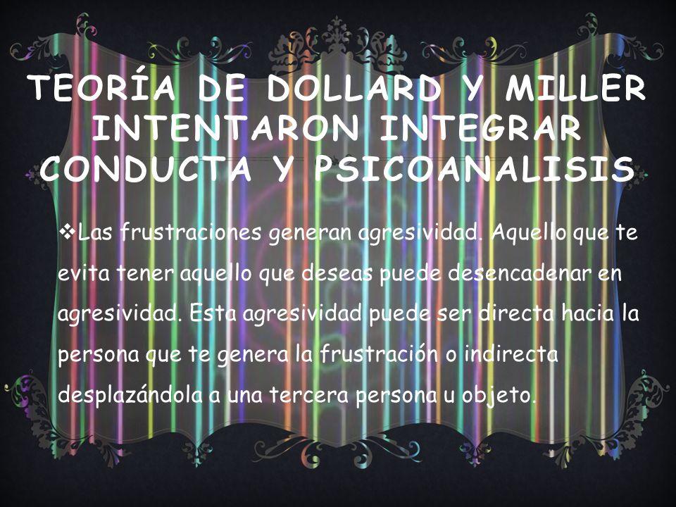 TEORÍA DE DOLLARD Y MILLER INTENTARON INTEGRAR CONDUCTA Y PSICOANALISIS