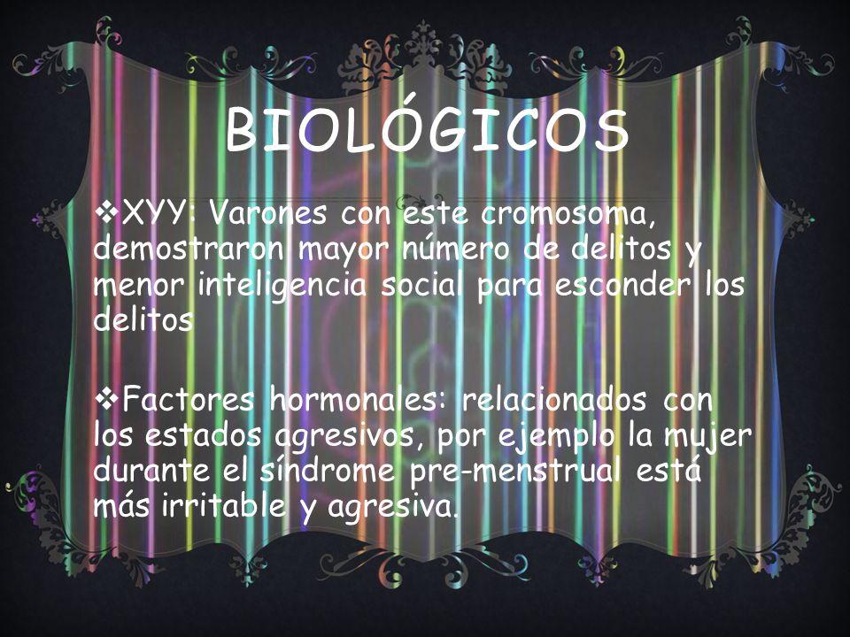 Biológicos XYY: Varones con este cromosoma, demostraron mayor número de delitos y menor inteligencia social para esconder los delitos.
