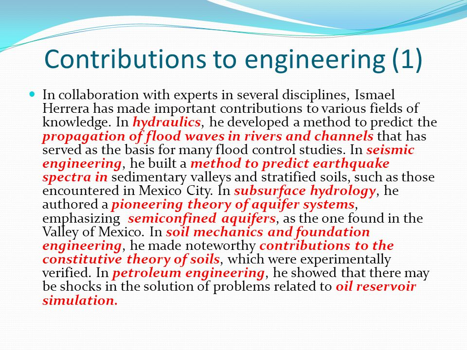 Contributions to engineering (1)