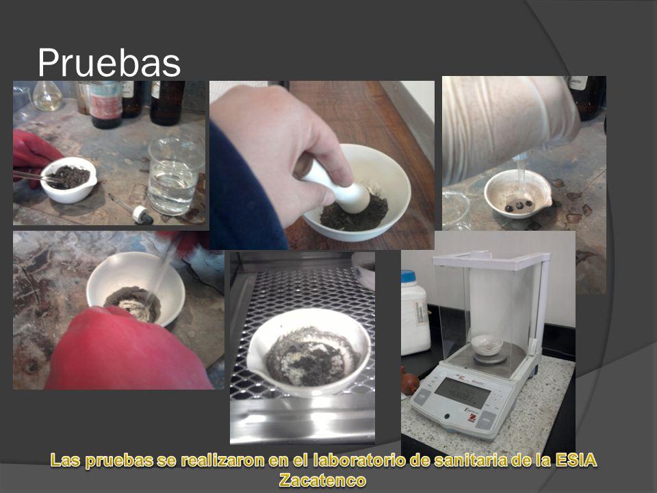 Pruebas Las pruebas se realizaron en el laboratorio de sanitaria de la ESIA Zacatenco