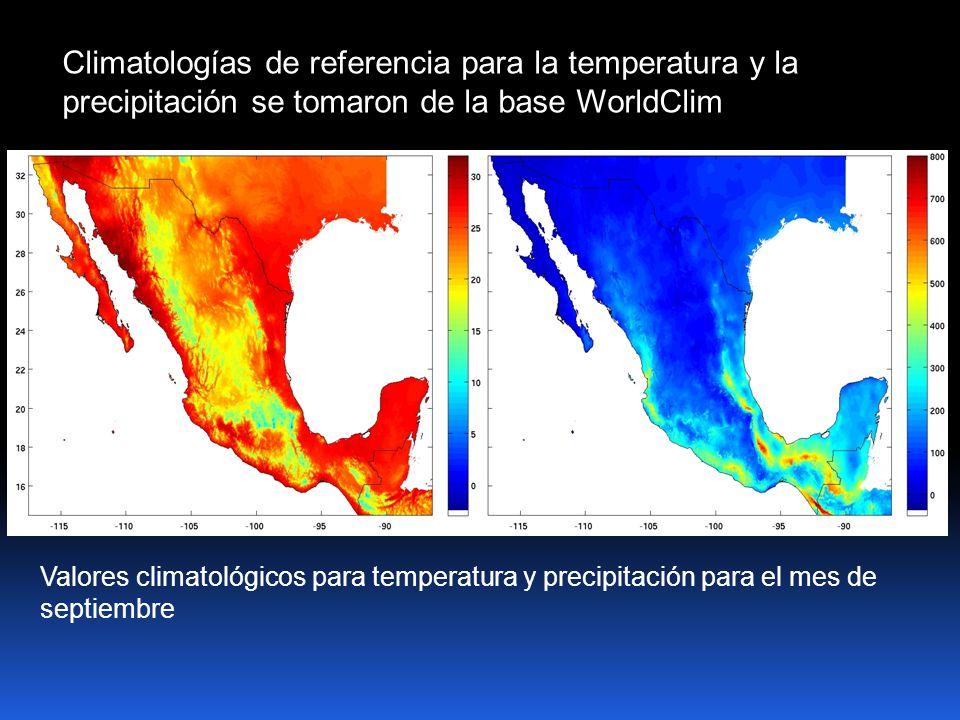 Climatologías de referencia para la temperatura y la precipitación se tomaron de la base WorldClim