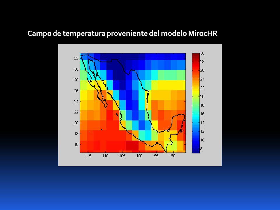 Campo de temperatura proveniente del modelo MirocHR