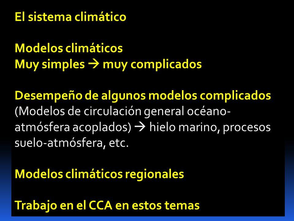 El sistema climático Modelos climáticos. Muy simples  muy complicados. Desempeño de algunos modelos complicados.