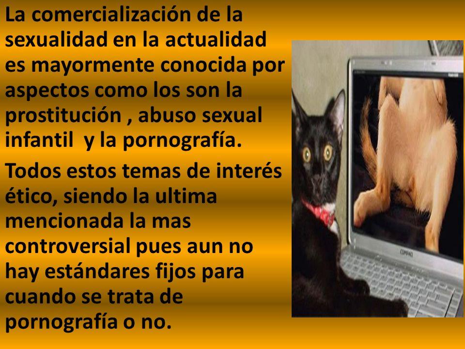 La comercialización de la sexualidad en la actualidad es mayormente conocida por aspectos como los son la prostitución , abuso sexual infantil y la pornografía.