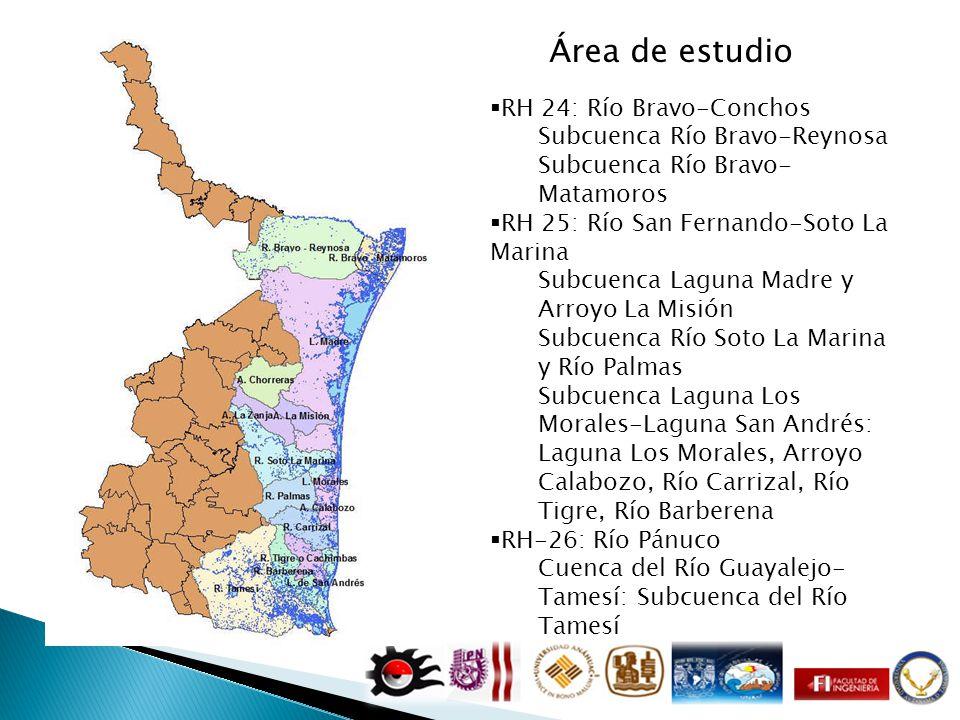 Área de estudio RH 24: Río Bravo-Conchos Subcuenca Río Bravo-Reynosa