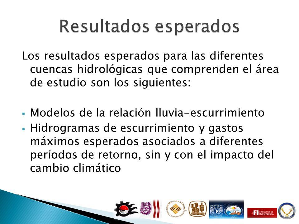 Resultados esperados Los resultados esperados para las diferentes cuencas hidrológicas que comprenden el área de estudio son los siguientes: