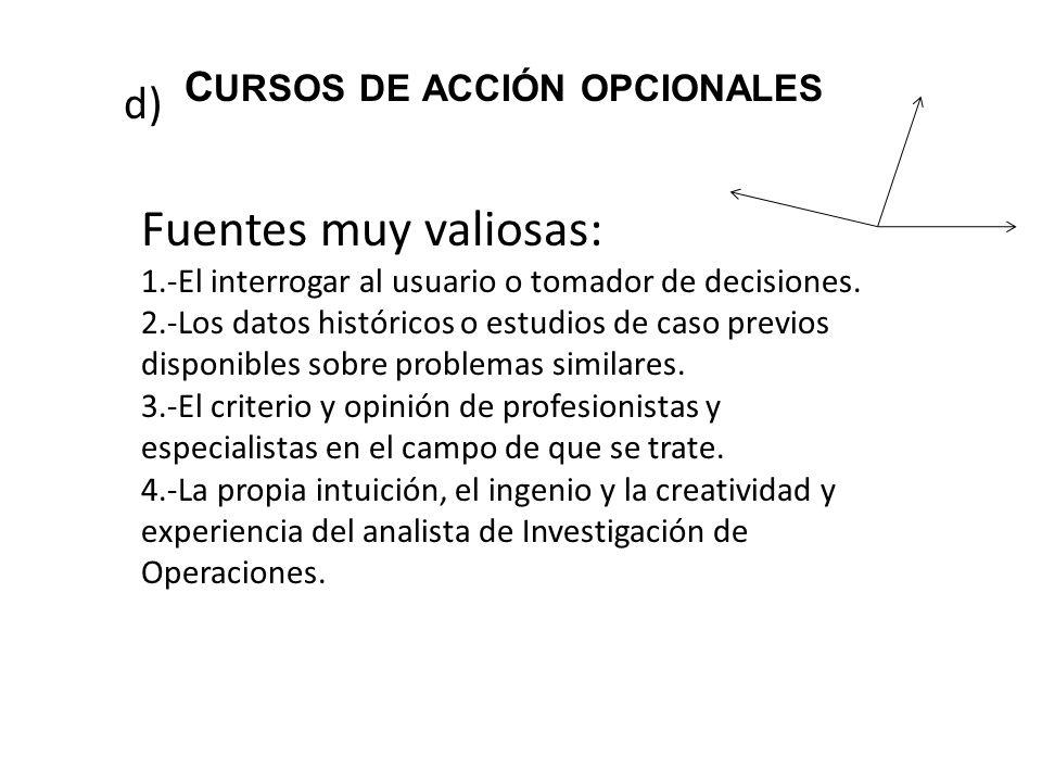 cursos de acción opcionales