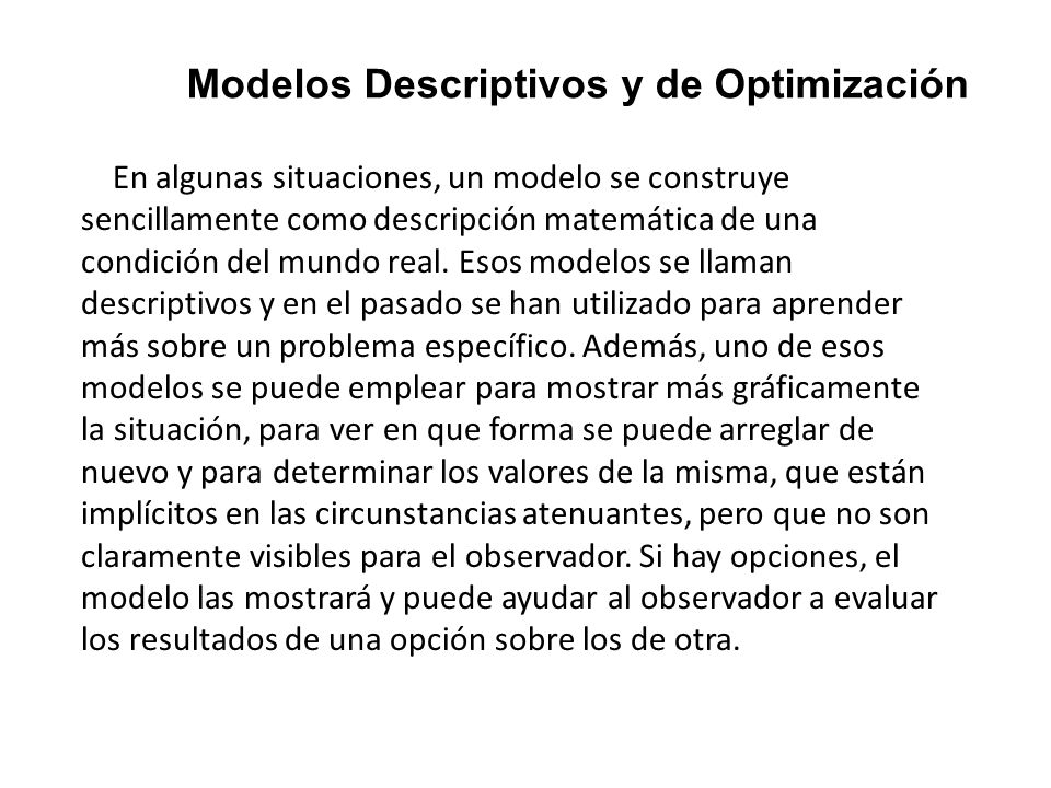 Modelos Descriptivos y de Optimización