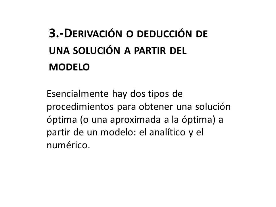 3.-Derivación o deducción de una solución a partir del modelo