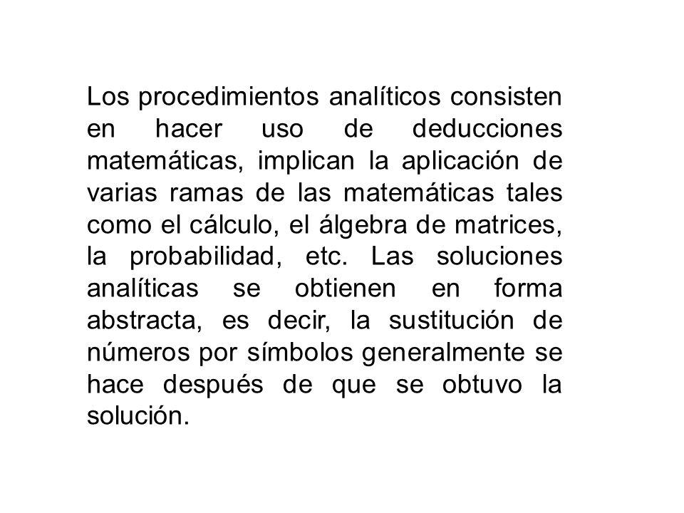 Los procedimientos analíticos consisten en hacer uso de deducciones matemáticas, implican la aplicación de varias ramas de las matemáticas tales como el cálculo, el álgebra de matrices, la probabilidad, etc.