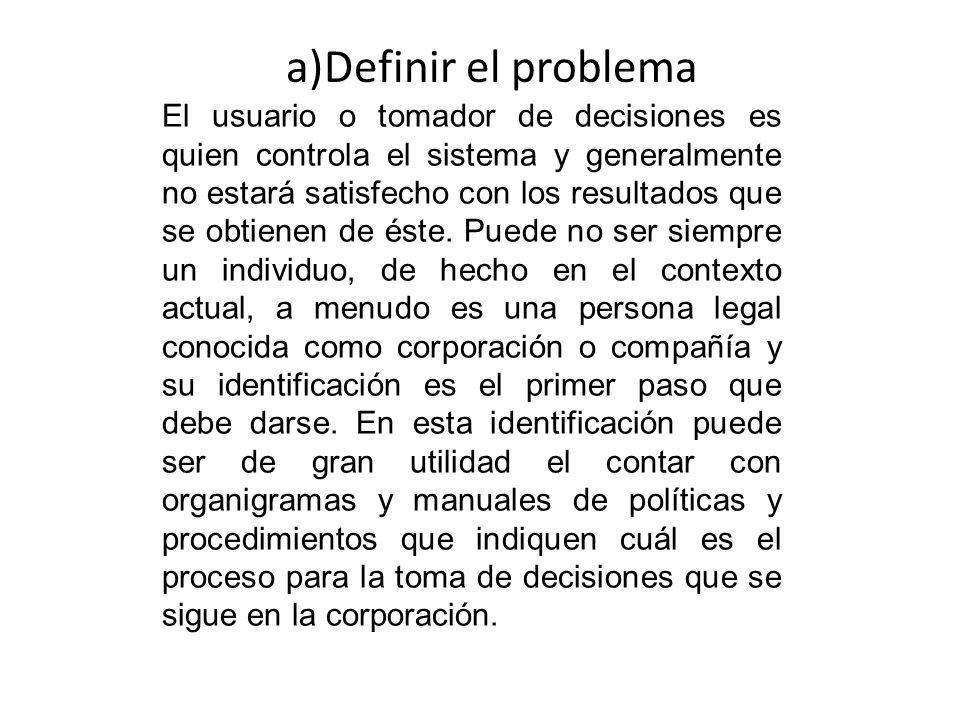 a)Definir el problema